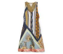Woman Patchwork-effect Printed Silk-twill Mini Dress Multicolor