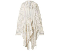 Woman Draped Striped Woven Tunic Ivory