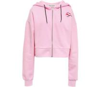 Cropped Appliquéd Cotton-fleece Hoodie Baby Pink