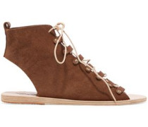 Mache lace-up leather-trimmed suede sandals