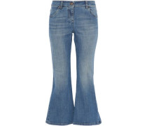 Faded low-rise kick-flare jeans