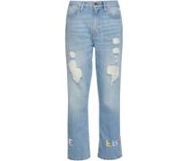 Embroidered Distressed High-rise Straight-leg Jeans Light Denim  3