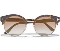 Alissa Round-frame Acetate And Gold-tone Sunglasses Brown Size --