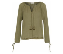 Peasant Stud-embellished Crinkled Cotton-gauze Top Army Green