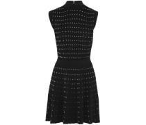 Pleated Studded Wool-blend Mini Dress Black