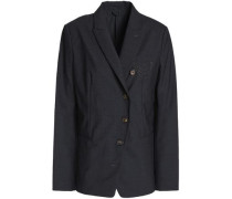 Double-breasted bead-embellished wool-blend blazer