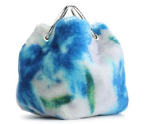 Gathered Floral-print Mohair And Cotton-blend Tote Blue Size --