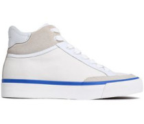 Suede And Leather-trimmed Canvas Sneakers White