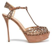 Embellished laser-cut suede platform sandals
