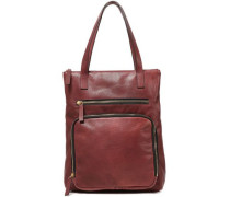 Textured-leather Tote Burgundy Size --
