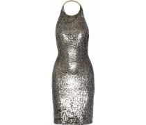 Marnie sequined mesh halterneck mini dress
