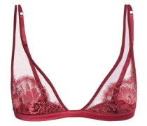 Cotton-blend lace triangle soft-cup bra