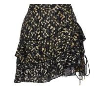 Tiered fil coupé silk-blend chiffon mini skirt