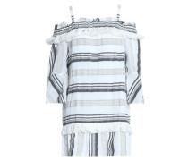 Cold-shoulder striped cotton, linen and ramie-blend mini dress