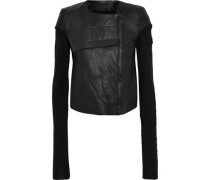 Knit-paneled Leather Biker Jacket Black