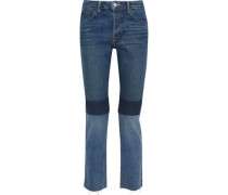 Cropped patchwork mid-rise slim-leg jeans