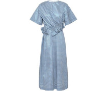 Thelma Ruched Gingham Metallic Jacquard Midi Dress Light Blue