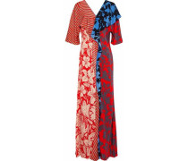 Paneled draped printed silk maxi dress