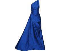 Woman One-shoulder Gathered Cloqué-jacquard Gown Cobalt Blue