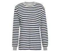 Striped Cotton-jersey Pajama Top Navy