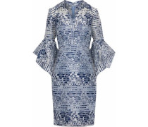 Fluted woven-paneled floral-jacquard dress