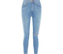 Good Cropped Distressed High-rise Skinny Jeans Light Denim  6