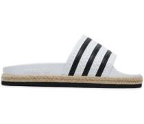 Striped Rubber Slides White