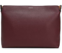 Color-block Pebbled-leather Pouch Burgundy Size --