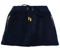 Zip-detailed Cotton-blend Terry Shorts Midnight Blue
