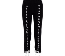 Brushed Piper Lace-up Cropped Stretch-tencel Track Pants Black