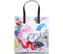 Leather-trimmed printed shell tote