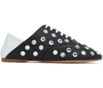 Convertible crystal-studded two-tone leather brogues