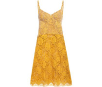 Point D'esprit And Corded Lace Mini Dress Mustard