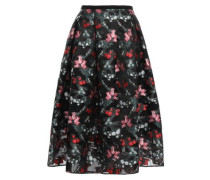 Flared Metallic Fil Coupé Organza Midi Skirt Black