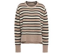 Striped Wool And Yak-blend Sweater Taupe