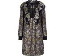 Lace-paneled ruffled brocade dress