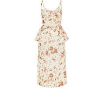 Dailey Floral-print Cotton-voile Peplum Dress Cream