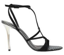 Arbento Metallic Leather-trimmed Suede Sandals Black