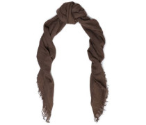 Frayed cashmere and silk-blend scarf