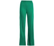 Stretch-knit wide-leg pants