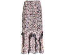 Lace-trimmed floral-print silk-georgette maxi dress