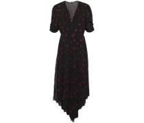 Woman Asymmetric Pleated Embroidered Georgette Midi Dress Black