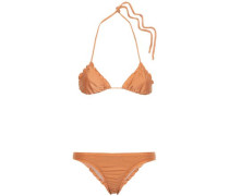 Woman Knotted Ruched Triangle Bikini Camel