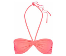 The Claire Ruched Halterneck Bikini Top Coral