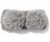 Mies pompom-embellished cable-knit wool headband