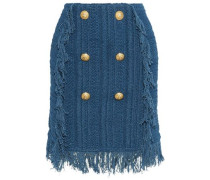 Button-embellished Fringed Crocheted Cotton Mini Skirt Cobalt Blue