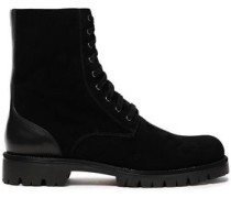 Lace-up Embellished Suede And Leather Ankle Boots Black