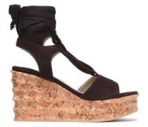 Lace-up suede wedge platform sandals