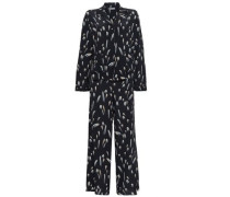Printed Silk Crepe De Chine Pajama Set Black