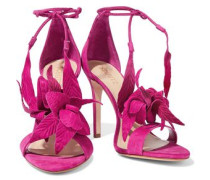 Embossed nubuck and suede sandals